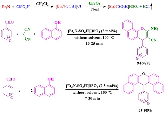 Efficient production of 2-amino-4H-chromenes and 14-aryl-14H-dibenzo[a, j]xanthenes catalyzed by N, N-diethyl-N-sulfoethanaminium hydrogen sulfate